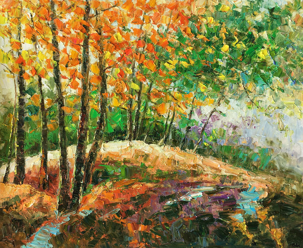 Abstract Art Painting, Autumn Tree and Lake Painting, Landscape Art, Canvas Wall Art, Autumn Tree Painting - artworkcanvas