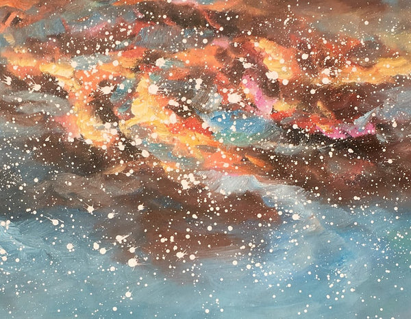 Landscape Oil Painting, Starry Night Sky Painting, Heavy Texture Painting, Custom Abstract Painting - artworkcanvas