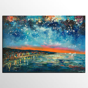 Abstract Art, Contemporary Artwork, Starry Night Sky, Landscape Painting, Custom Abstract Painting - artworkcanvas