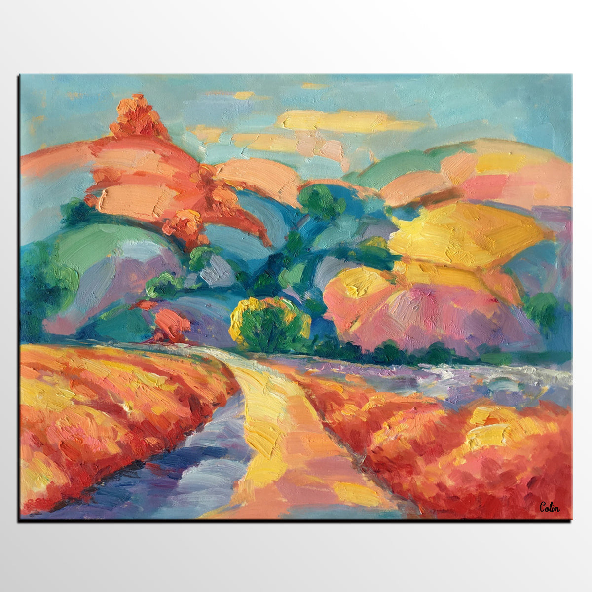 Abstract Impasto Art, Canvas Wall Art for Sale, Mountain Landscape Painting, Heavy Texture Oil Painting