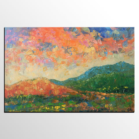 Abstract Mountain Landscape Art, Large Art, Original Art, Contemporary Art, Oil Painting for Sale