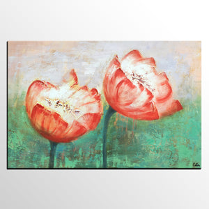 Large Tulip Flower Painting, Abstact Wall Art, Canvas Art, Original Painting, Canvas Painting