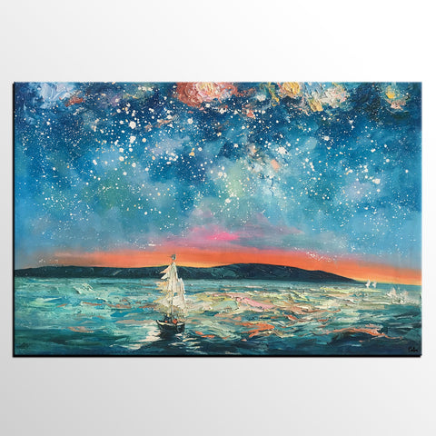 Abstract Landscape Painting, Sail Boat under Starry Night Sky Painting, Large Canvas Painting - artworkcanvas