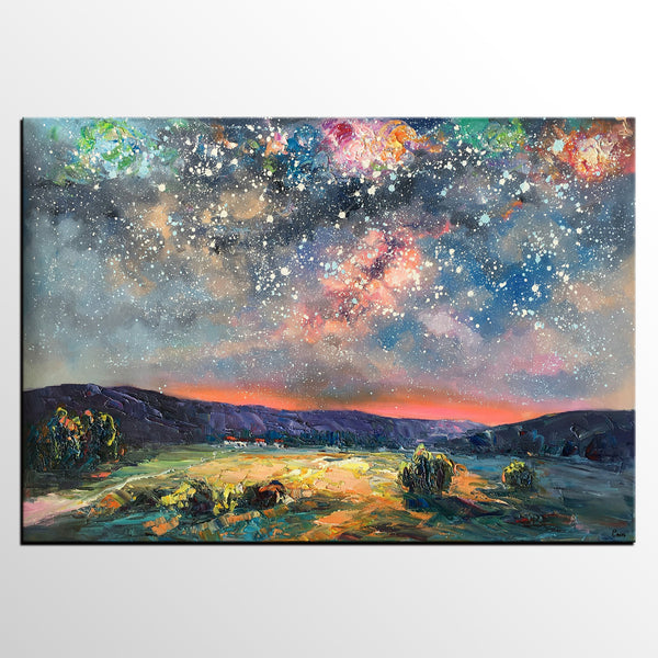 Abstract Painting, Starry Night Sky Painting, Heavy Texture Art, Impasto Painting, Original Wall Art - artworkcanvas