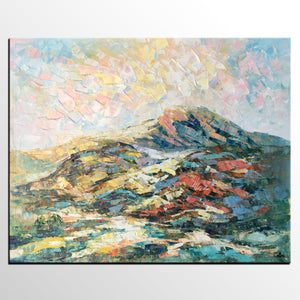 Mountain Landscape Art, Abstract Art Painting, Canvas Wall Art, Palette Knife Painting