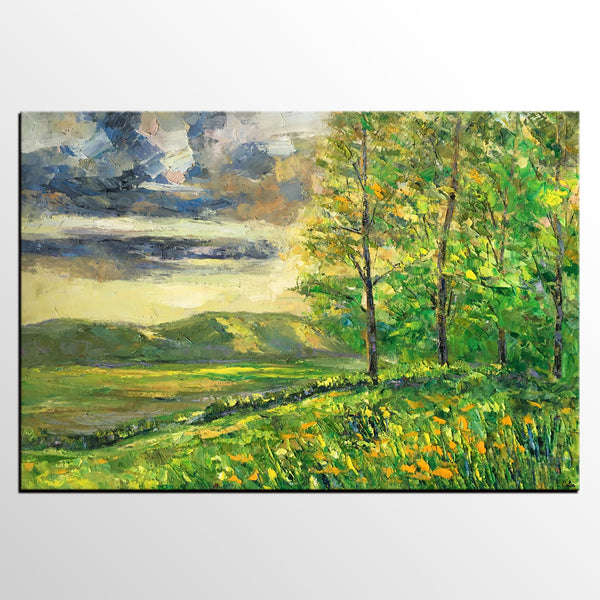 Landscape Art, Canvas Wall Art, Original Painting, Spring Tree Painting, Extra Large Canvas Painting