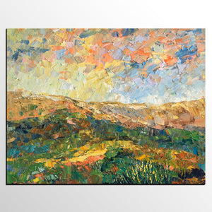 Abstract Mountain Landscape Painting, Rustic Painting, Original Artwork, Custom Oil Painting - artworkcanvas