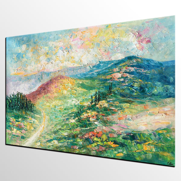 Autumn Mountian Painting, Landscape Art, Canvas Wall Art, Abstract Art Painting for Bedroom, Custom Painting - artworkcanvas
