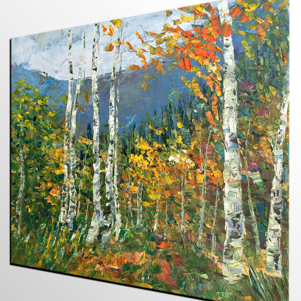 Birch Tree Painting, Abstract Landscape Painting, Oil Painting, Heavy Texture Painting