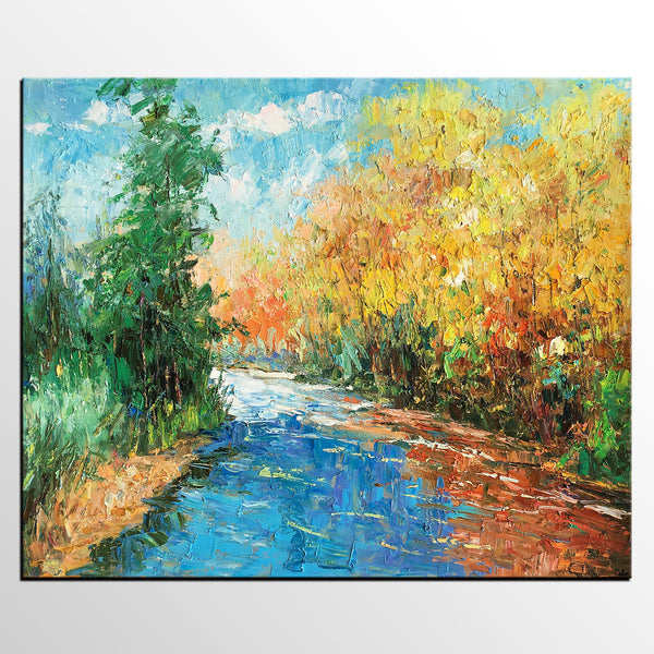 Original Art, Autumn Tree Landscape Art, Canvas Wall Art, Large Oil Painting, Original Painting