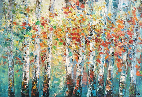 Canvas Art Painting, Large Wall Art, Summer Birch Tree Painting, Custom Extra Large Oil Painting - artworkcanvas