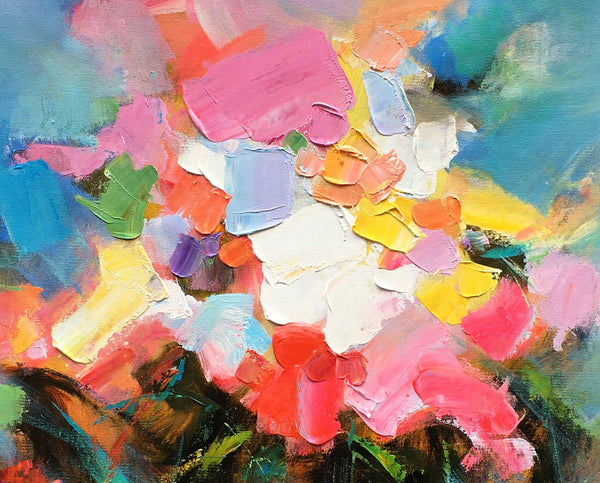 Bedroom Wall Art, Flower Painting, Acrylic Painting, Heavy Texture Art, Original Art, Canvas Art, Abstract Painting, Impasto Art, 454 - artworkcanvas