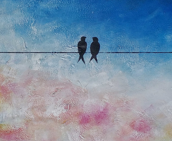 Bird Painting, Love Birds Painting, Abstract Painting, Wall Art for Sale, Wedding Gift - artworkcanvas