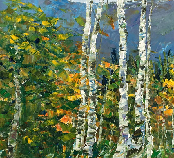 Birch Tree Painting, Abstract Landscape Painting, Oil Painting, Heavy Texture Painting-artworkcanvas