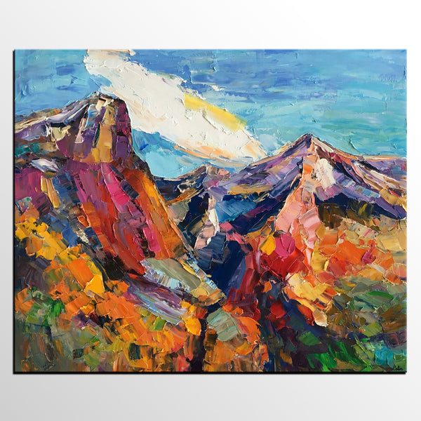 Abstract Art Landscape, Canvas Wall Art, Mountain Landscape Painting, Custom Landscape Oil Painting-artworkcanvas