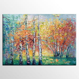 Abstract Autumn Painting, Autumn Tree Art, Abstract Landscape Painting, Custom Canvas Art, Canvas Painting - artworkcanvas