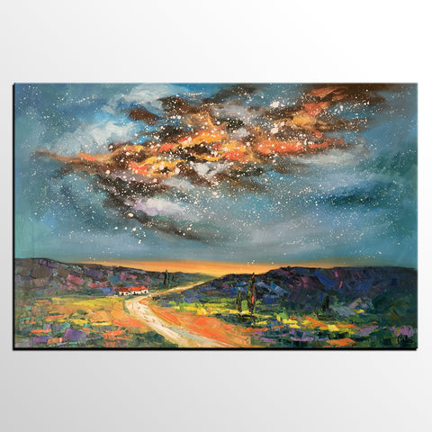 Abstract Landscape Painting, Starry Night Sky Painting, Custom Artwork, Heavy Texture Art - artworkcanvas