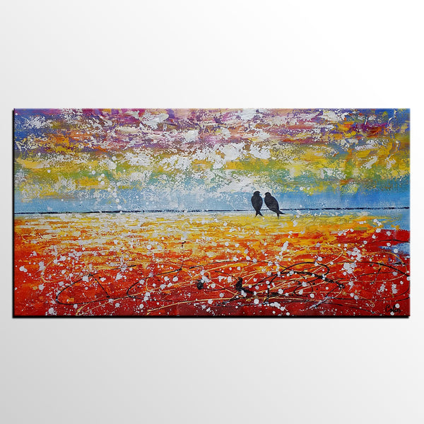 Living Room Wall Art, Abstract Art, Love Birds Painting, Canvas Art, Canvas Painting