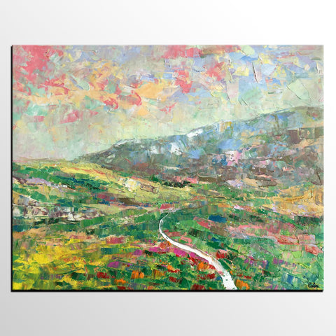 Abstract Art, Landscape Art, Canvas Wall Art, Custom Abstract Art Painting, Spring Mountain Painting - artworkcanvas