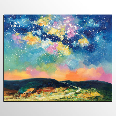 Abstract Painting, Starry Night Sky Painting, Heavy Texture Painting, Custom Canvas Painting - artworkcanvas