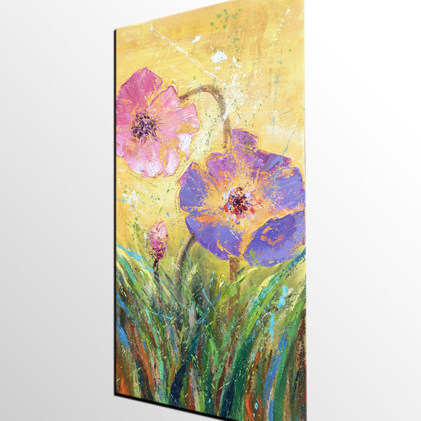 Bedroom Wall Art, Heavy Texture Art, Flower Painting, Acrylic Painting, Original Art, Canvas Art, Abstract Painting, Impasto Art, 453 - artworkcanvas
