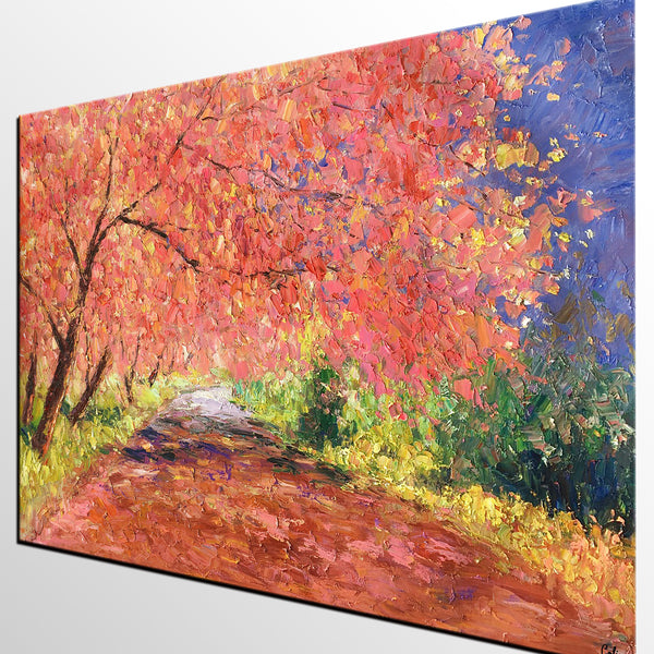 Abstract Art Painting, Autumn Birch Tree Painting, Heavy Texture Painting, Oil Painting for Sale - artworkcanvas