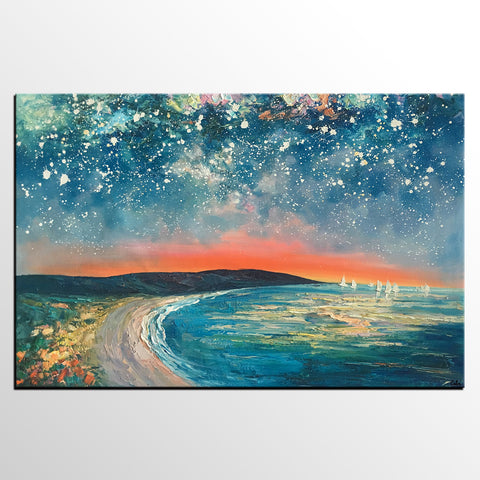 Starry Night Sky Seashore Painting, Abstract Art Painting, Canvas Oil Painting, Heavy Texture Art, Bedroom Wall Art, Landscape Painting, Large Art, Original Art - artworkcanvas