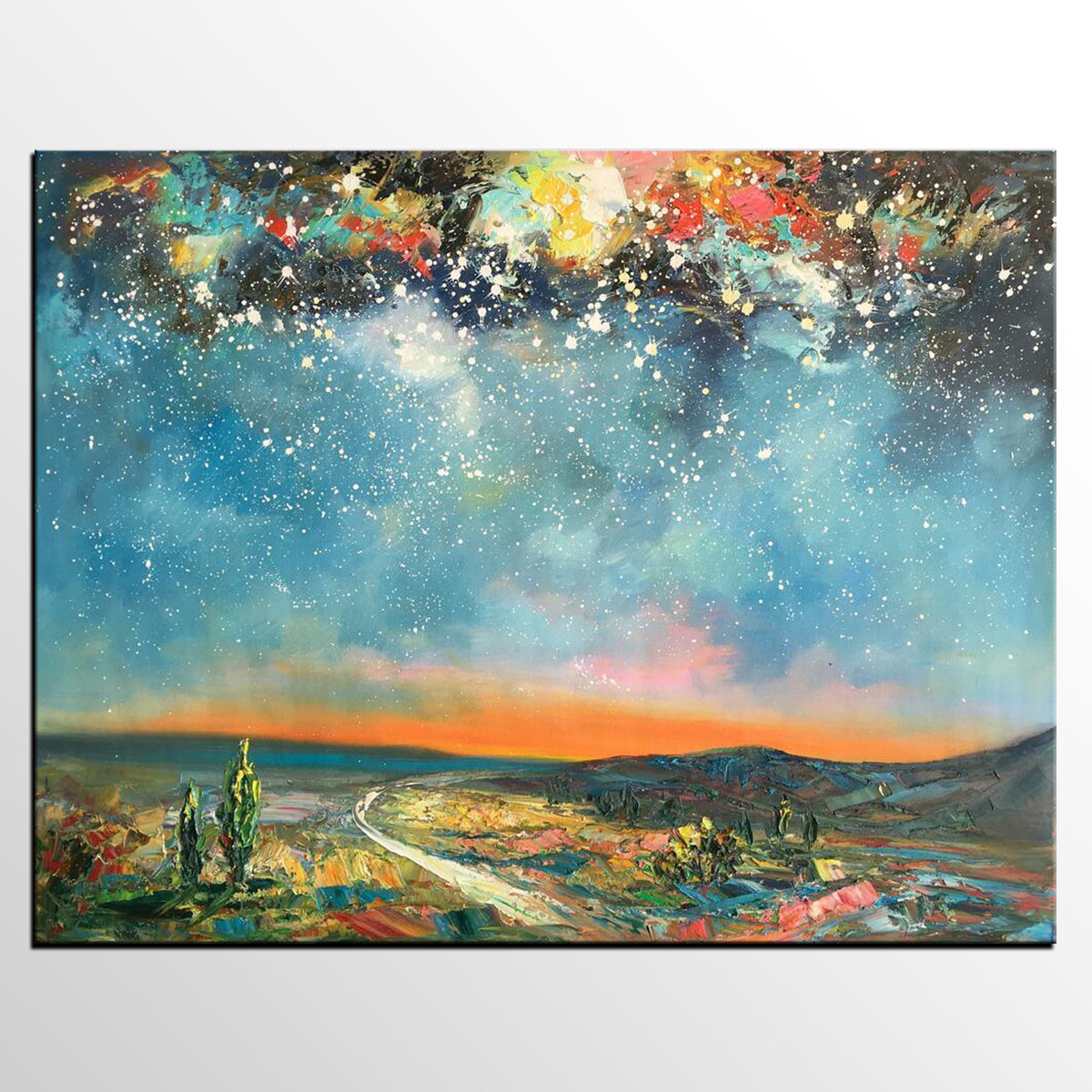 Abstract Art, Original Artwork, Starry Night Sky Painting, Landscape Art, Wall Art, Oil Painting