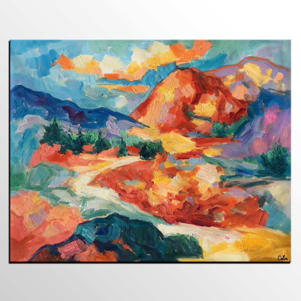 Landscape Painting, Large Canvas Art, Wall Art, Original Oil Painting, Autumn Mountain Landscape - artworkcanvas