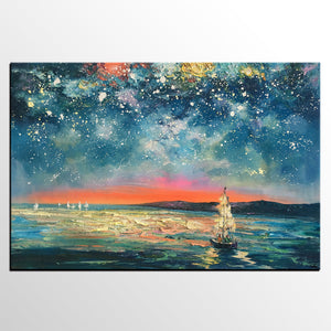 Abstract Landscape Painting, Starry Night Sky Painting, Original Art Painting, Oil Painting for Sale - artworkcanvas