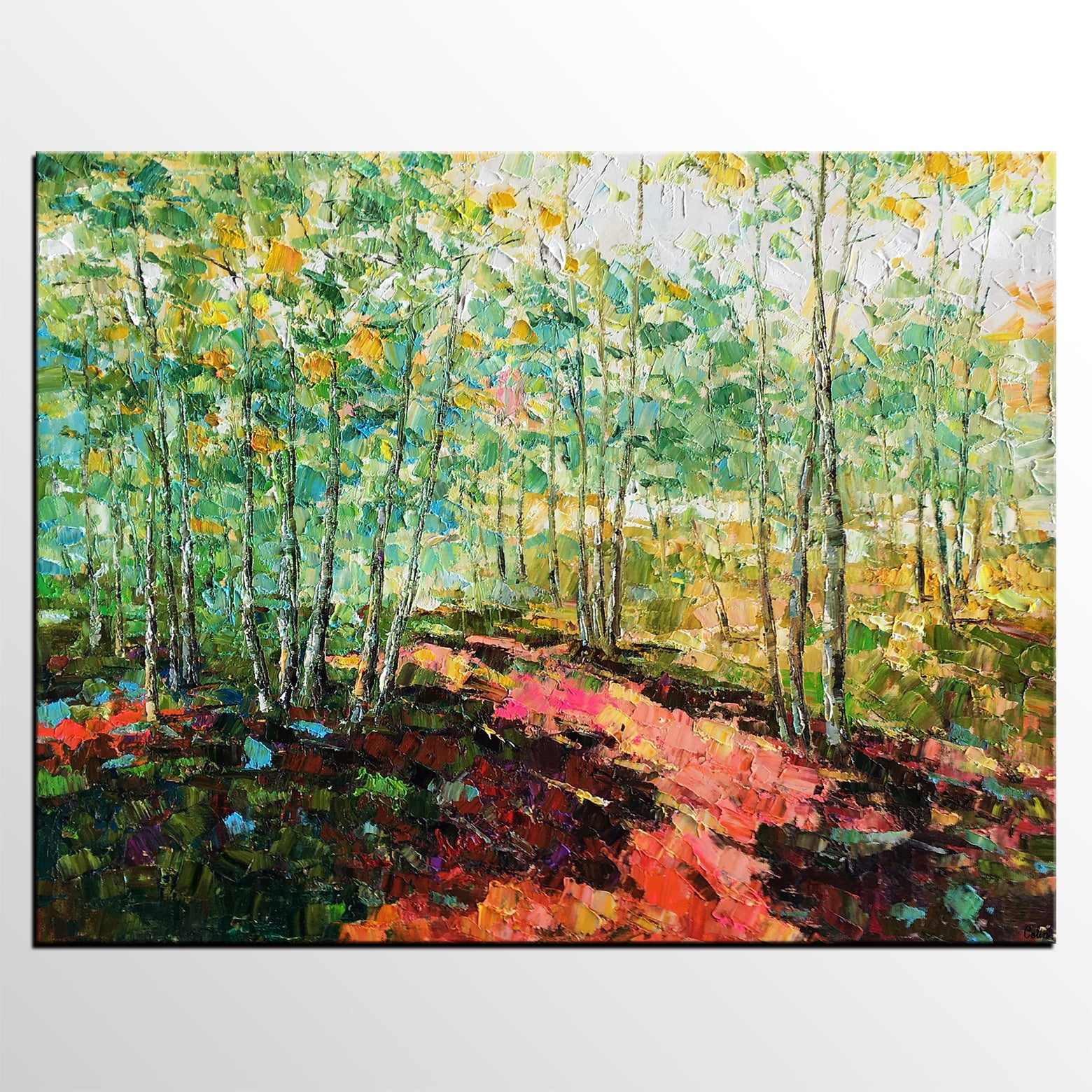 Original Wall Art, Spring Tree Landscape Painting, Rustic Painting, Hand Painted Art Painting-artworkcanvas