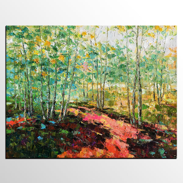 Original Wall Art, Spring Tree Landscape Painting, Rustic Painting, Hand Painted Art Painting