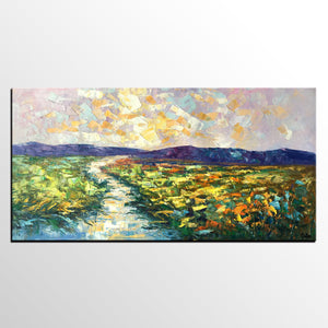 Abstract River Painting, Canvas Painting, Contemporary Art, Bedroom Wall Art, Custom Extra Large Painting - artworkcanvas