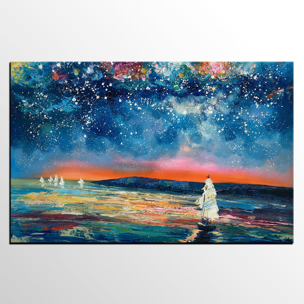 Canvas Painting, Abstract Art for Sale, Sail Boat under Starry Night Sky Painting, Original Art, Buy Art Online