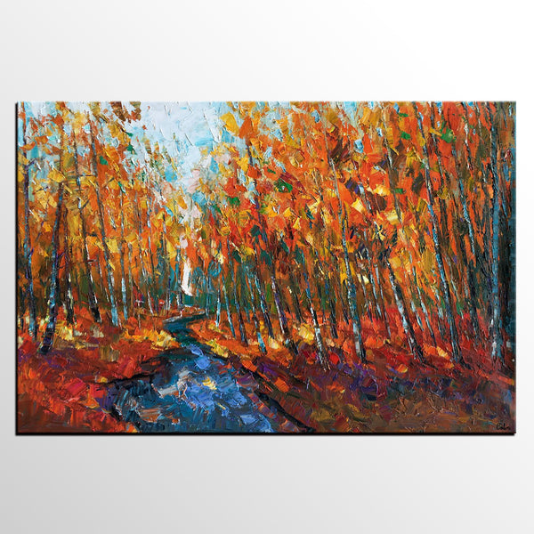 Bedroom Wall Art, AutumnTree Painting, Oil Painting, Heavy Texture Art, Original Art, Canvas Art, Abstract Painting, Impasto Art - artworkcanvas