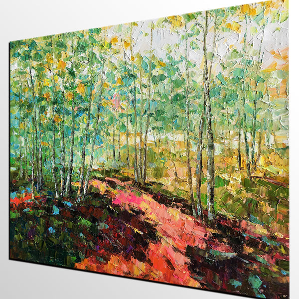 Original Wall Art, Spring Tree Landscape Painting, Rustic Painting, Hand Painted Art Painting - artworkcanvas
