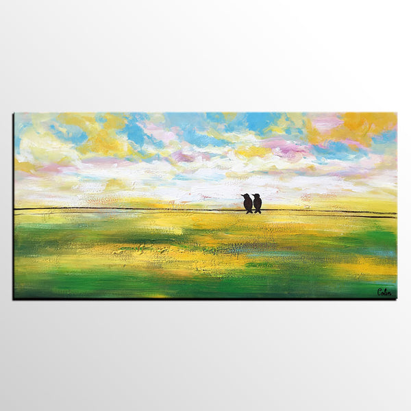 Abstract Landscape Painting, Wedding Gift, Abstract Art, Love Birds Painting, Wall Painting
