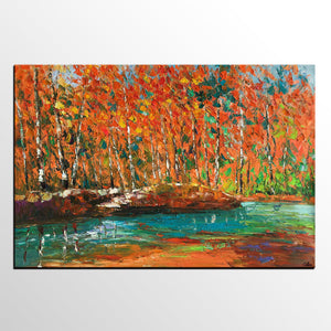 Autumn Tree Painting, Landscape Painting, Oil Painting, Abstract Painting, Large Art, Canvas Art, Dining Room Wall Art, Canvas Painting