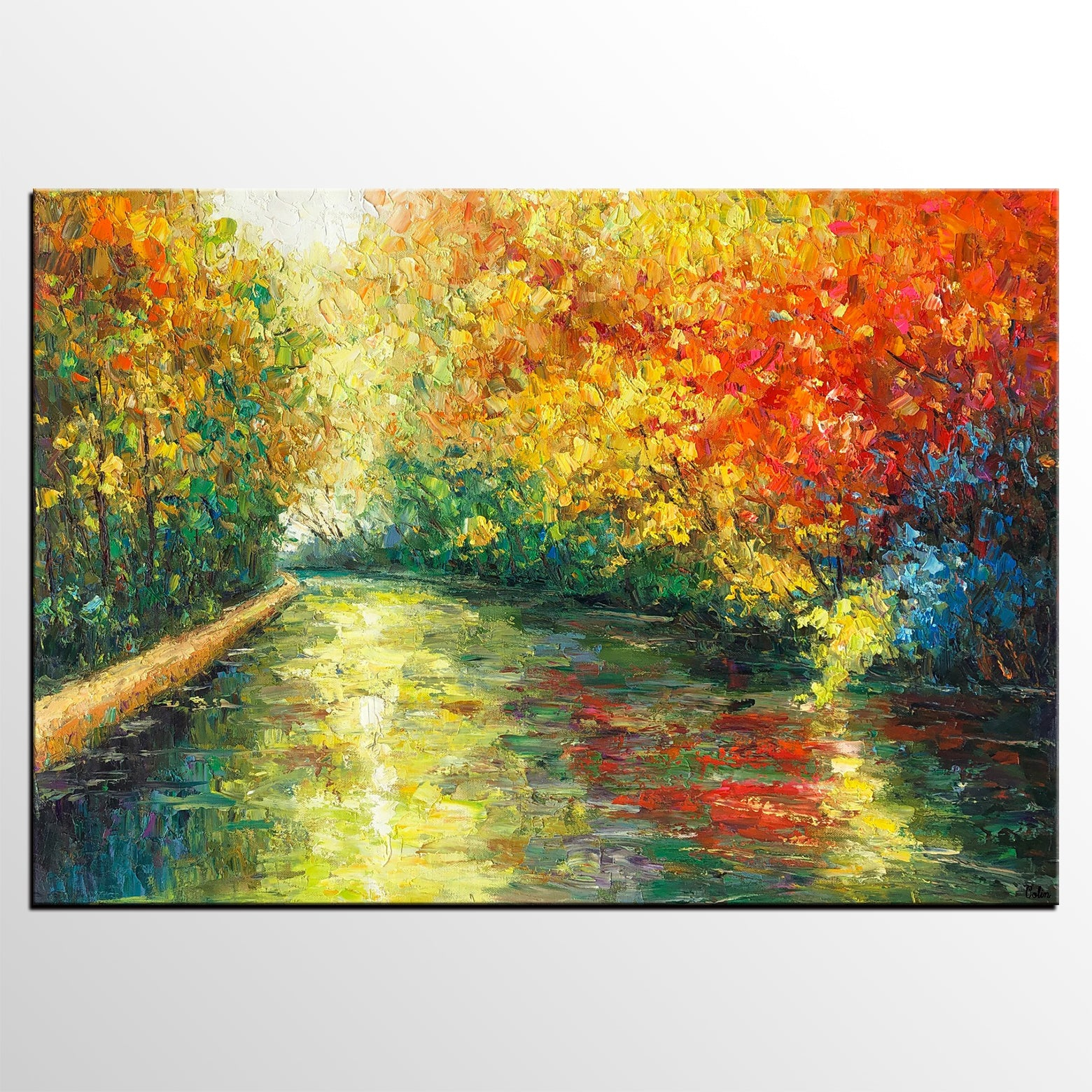 Landscape Oil Painting, Autumn Tree Painting, Canvas Artwork, Canvas Painting - artworkcanvas