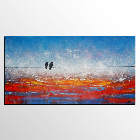Oil Painting for Sale, Dining Room Wall Art, Abstract Art, Original Art, Love Birds Painting, Abstract Painting, Large Art, Canvas Art