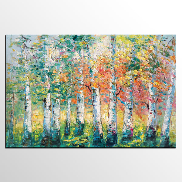 Canvas Painting for Living Room, Heavy Texture Canvas Art, Autumn Tree Landscape Art - artworkcanvas