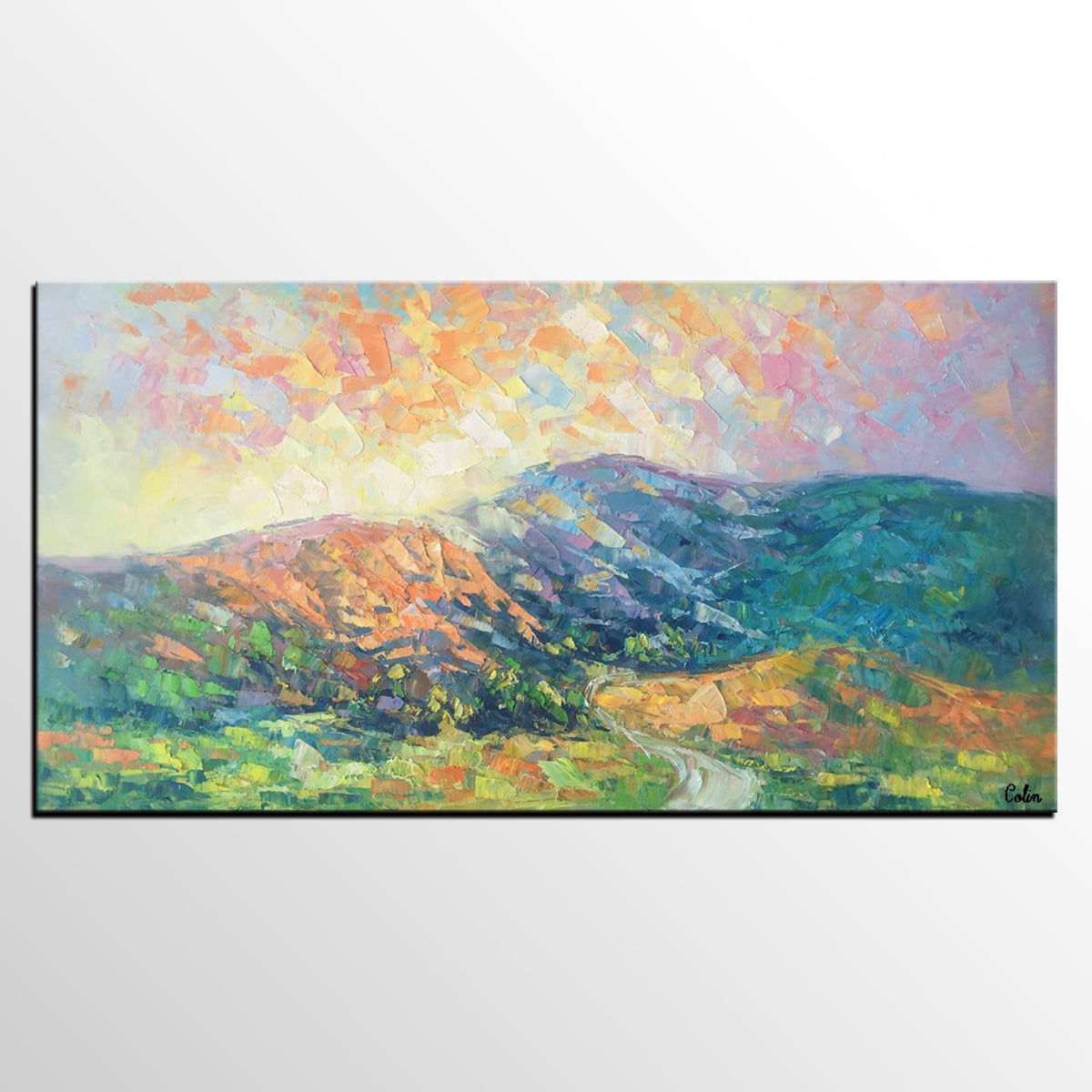 Abstract Landscape Art, Spring Mountain Painting, Canvas Painting, Contemporary Art