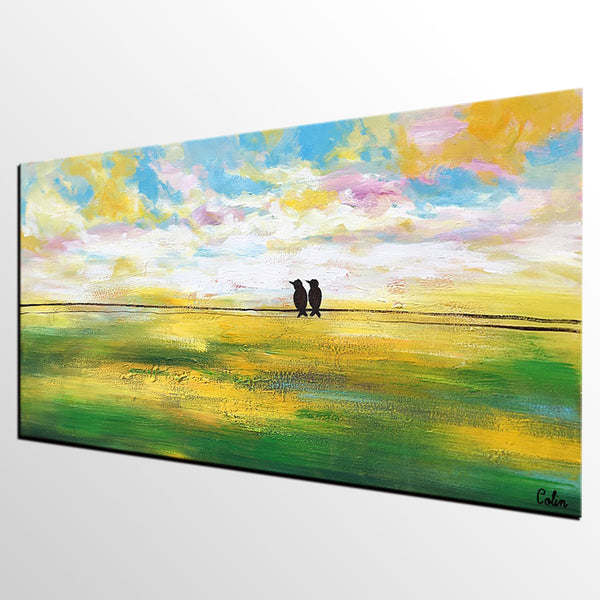 Abstract Landscape Painting, Wedding Gift, Abstract Art, Love Birds Painting, Wall Painting - artworkcanvas