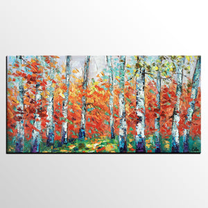 Abstract Artwork, Canvas Artwork, Spring Tree Painting, Landscape Oil Painting, Canvas Painting for Bedroom - artworkcanvas