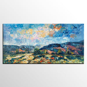 Abstract Painting, Canvas Art, Mountain Landscape Wall Art, Custom Canvas Painting - artworkcanvas