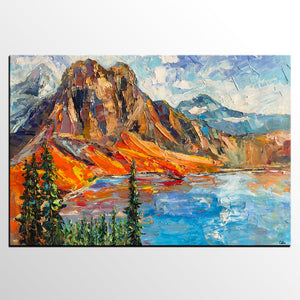 Abstract Art Painting, Mountain Landscape Painting, Original Oil Painting, Canvas Painting, Modern Art - artworkcanvas