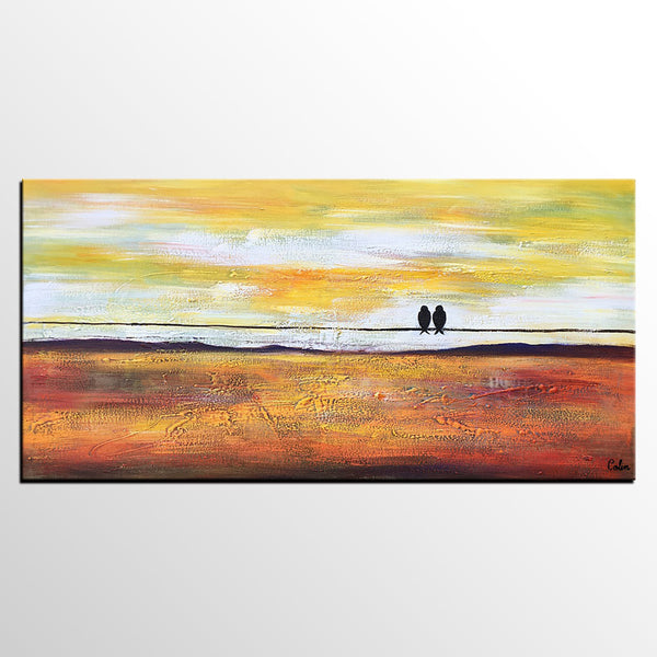 Bird Painting, Love Birds Painting, Abstract Art Painting, Canvas Art for Bedroom