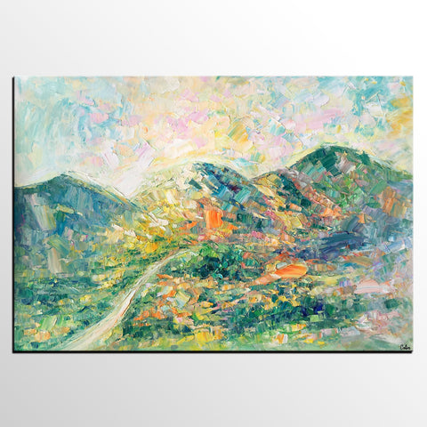 Abstract Oil Painting, Impasto Painting, Custom Landscape Painting, Mountain Landscape Painting - artworkcanvas