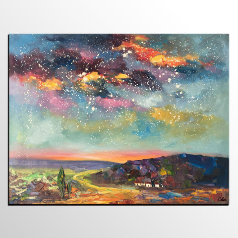 Wall Art for Bedroom Wall Art, Starry Night Sky Painting, Landscape Art, Custom Large Canvas Painting - artworkcanvas