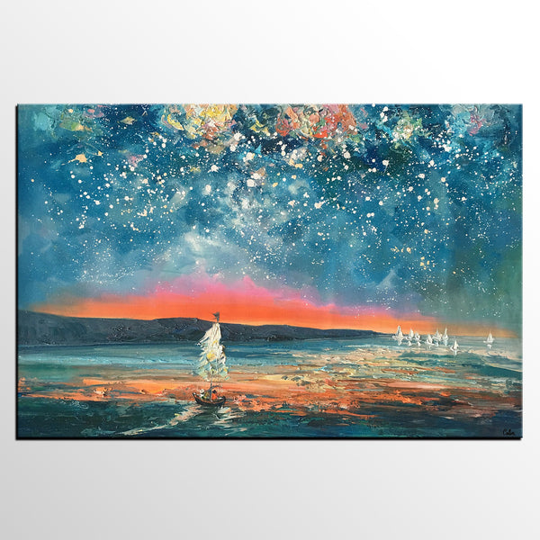 Abstract Painting, Starry Night Sky Painting, Bedroom Wall Art, Canvas Art Painting, Art on Canvas - artworkcanvas